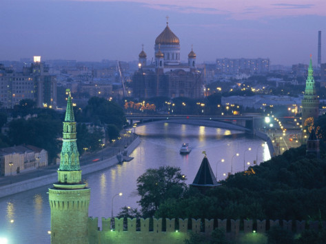 moscow river at dusk